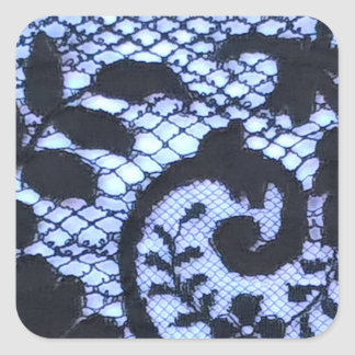 Beautiful black lace fabric detail. square sticker