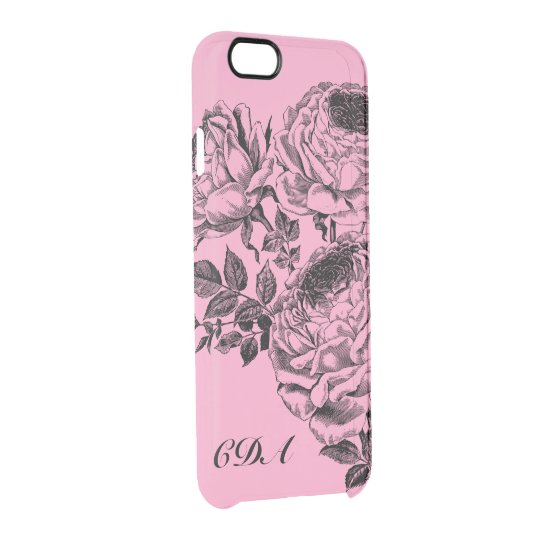Beautiful Black Roses Monogram Clearly Phone Case