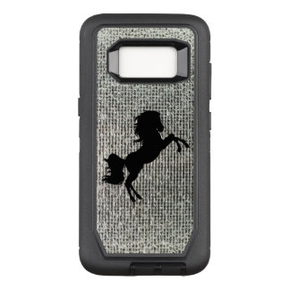 Beautiful Black Stallion on Silver Sequins OtterBox Defender Samsung Galaxy S8 Case