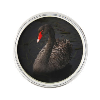 Beautiful Black Swan with a Bright Red Beak Lapel Pin