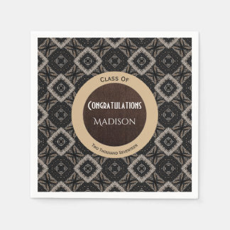 Beautiful Black, White & Brown Elegance Graduation Paper Napkin