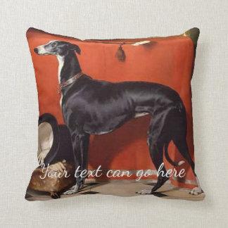 Beautiful Black  & White Greyhound Throw Pillow