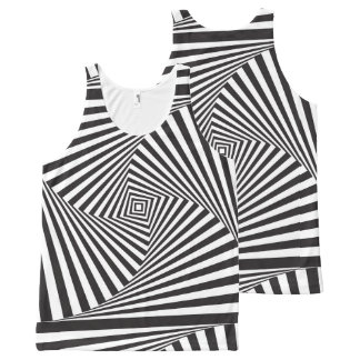 Beautiful Black white spiral optical illusion All-Over-Print Tank Top
