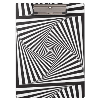 Beautiful Black white spiral optical illusion Clipboard