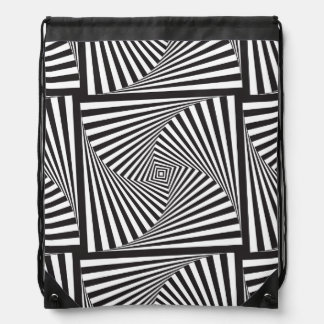 Beautiful Black white spiral optical illusion Drawstring Bag