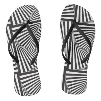 Beautiful Black white spiral optical illusion Flip Flops