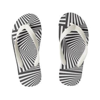Beautiful Black white spiral optical illusion Kid's Flip Flops