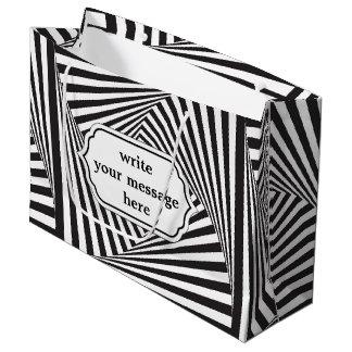 Beautiful Black white spiral optical illusion Large Gift Bag