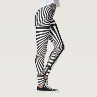 Beautiful Black white spiral optical illusion Leggings