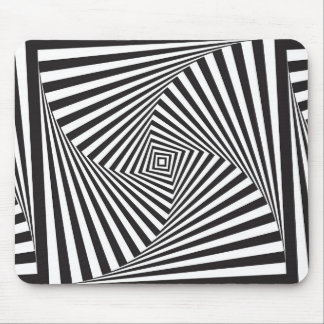 Beautiful Black white spiral optical illusion Mouse Pad