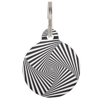 Beautiful Black white spiral optical illusion Pet Tag