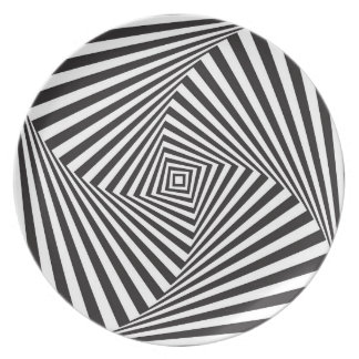 Beautiful Black white spiral optical illusion Plate