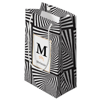 Beautiful Black white spiral optical illusion Small Gift Bag