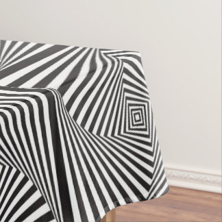 Beautiful Black white spiral optical illusion Tablecloth
