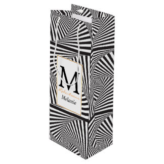 Beautiful Black white spiral optical illusion Wine Gift Bag