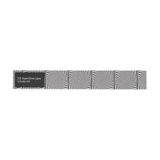 Beautiful Black white spiral optical illusion Wraparound Address Label