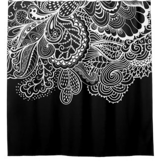 Beautiful Black & WhiteVintage Lace shower Curtain