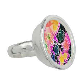 Beautiful Bling Abstract Pattern Photo Ring
