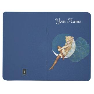 Beautiful Blond Fairy Fancy Wings Sitting on Moon Journal