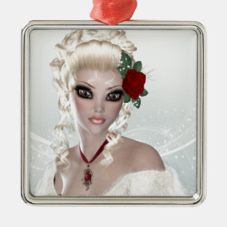 Beautiful Blond Woman Silver-Colored Square Ornament