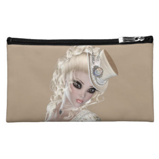 Beautiful Blond Woman Sueded Medium Cosmetic Bag