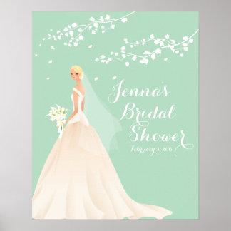 Beautiful Blonde Bride Bridal Shower Poster