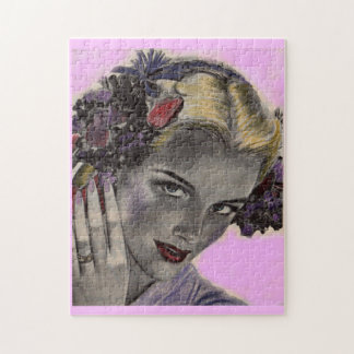 beautiful blonde with flowers in her hair jigsaw puzzle