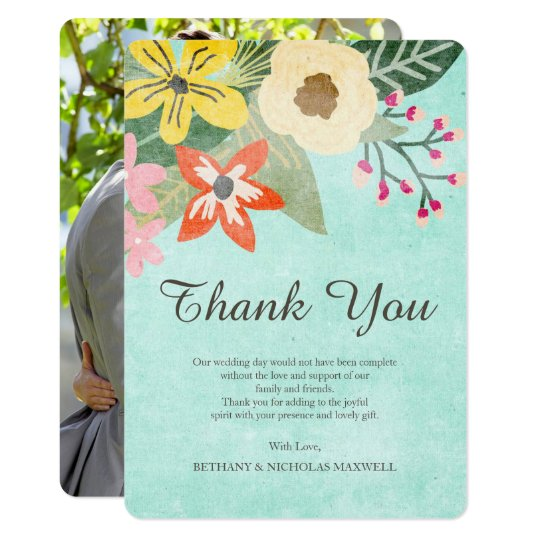 Beautiful Blooms Photo Thank You Flat Card