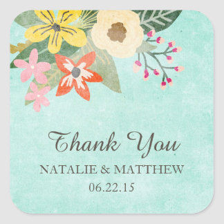 Beautiful Blooms Wedding Thank You Favor Stickers