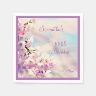Beautiful Blossom 100th Birthday Paper Napkins
