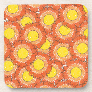 Beautiful Blossoms Cork Coasters - Orange