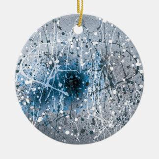 Beautiful Blue Abstract Art Splatters Round Ceramic Ornament