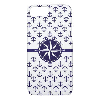 Beautiful blue Anchor Pattern Nautical Theme iPhone 8/7 Case