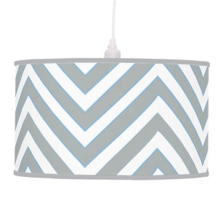 Beautiful Blue and Gray Chevron Stripe Pendant Lamp