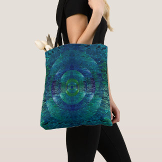 Beautiful Blue and Green Abstract Peacock Tote