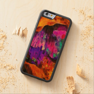 Beautiful blue and pink colors carved cherry iPhone 6 bumper case