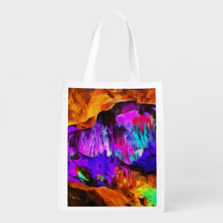 Beautiful blue and pink colors reusable grocery bag