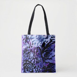 Beautiful blue and purple succulent tote bag