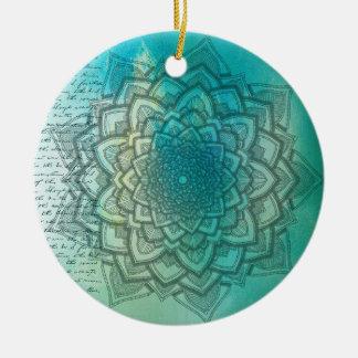 Beautiful Blue and Teal Mandala Christmas Ornament
