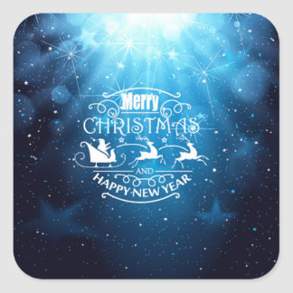 Beautiful Blue and White Christmas and New Year Square Sticker