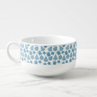 Beautiful Blue and White Christmas Soup Mug