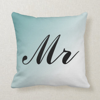 Beautiful Blue and White Gradient Mr and Mrs Throw Pillow