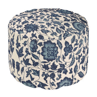 Beautiful Blue Asian Floral Pouf