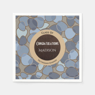 Beautiful Blue & Brown Contemporary Graduation Paper Napkins