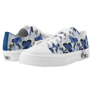 Beautiful Blue Butterflies (optional name on back) Low-Top Sneakers