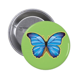 Beautiful Blue Butterfly 2 Inch Round Button