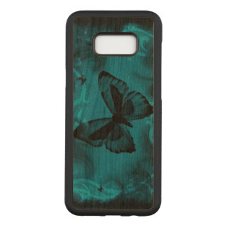 Beautiful blue butterfly swirl abstract art carved samsung galaxy s8+ case