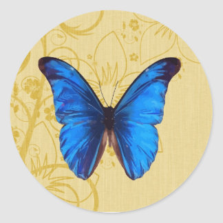 Beautiful Blue Butterfly Vintage art Classic Round Sticker
