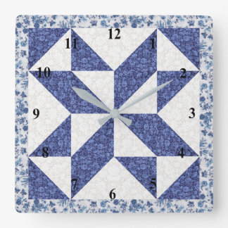 Beautiful Blue Calico Quilted Look Clocks