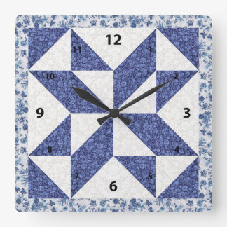 Beautiful Blue Calico Quilted Look Wallclock